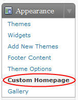 Image of custom homepage