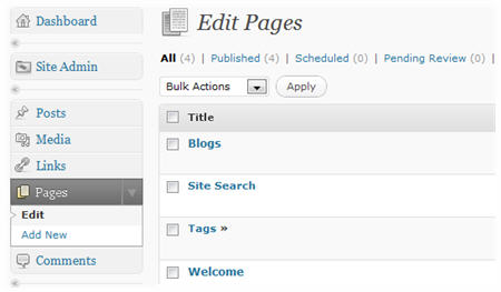 New pages created in Pages > Edit