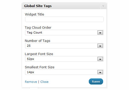 Global Site Tags widget